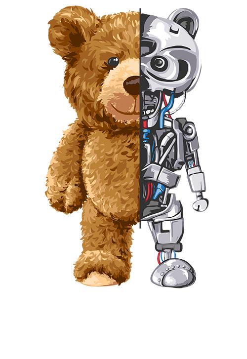 潮牌卡通熊机器人印花矢量图服装裁片T恤烫图印花花型素材-POP花型网