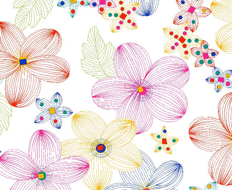 几何线条植物花纹印花矢量图服装纺织数码印花花型金昌素材-POP花型网