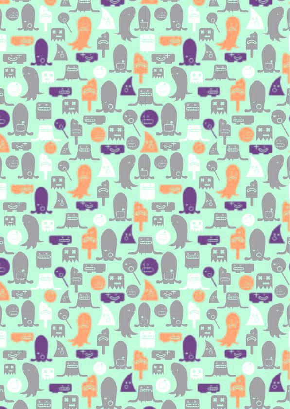 卡通图案印花矢量图服装纺织数码印花花型素材-POP花型网