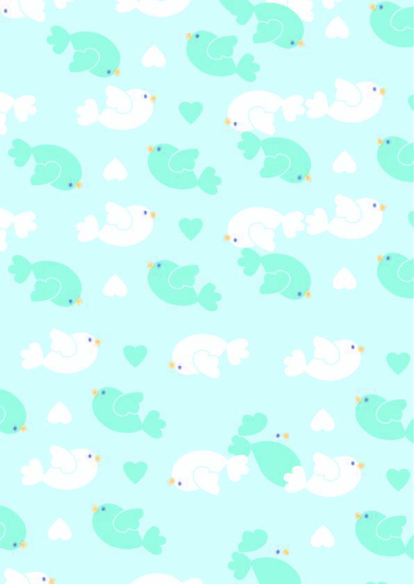 卡通图案飞鸟爱心印花矢量图服装纺织数码印花花型素材-POP花型网