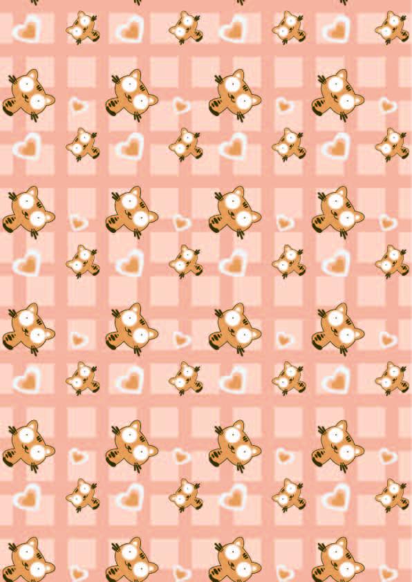 卡通动物猫咪格子爱心印花矢量图服装纺织数码印花花型素材-POP花型网