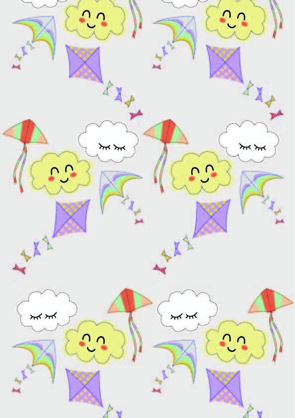 卡通云朵风筝印花矢量图服装纺织数码印花花型素材-POP花型网