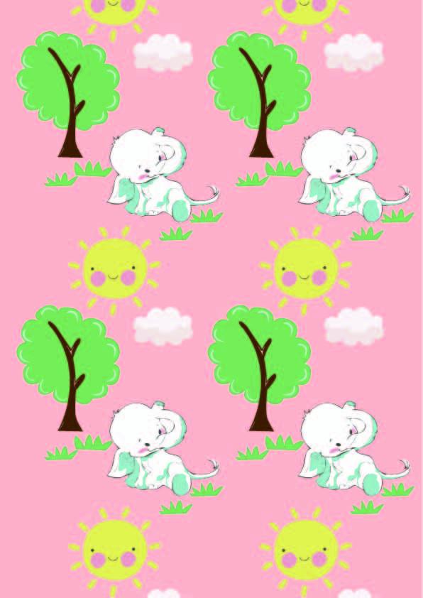 卡通植物大象太阳印花矢量图服装纺织数码印花花型素材-POP花型网