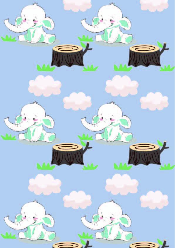 卡通图案大象云朵印花矢量图服装纺织数码印花花型素材-POP花型网