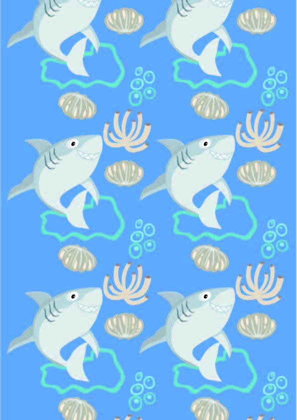 卡通动物鲨鱼贝壳印花矢量图服装纺织数码印花花型素材-POP花型网