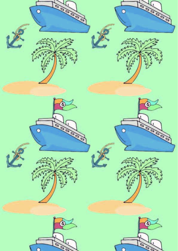 卡通轮船椰子树印花矢量图服装纺织数码印花花型素材-POP花型网