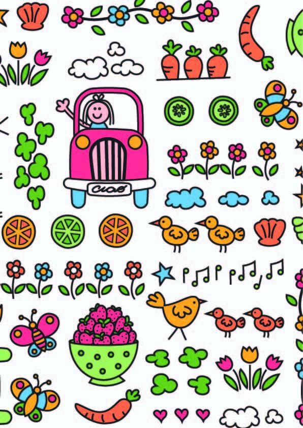 卡通花纹蝴蝶汽车印花矢量图服装纺织数码印花花型素材-POP花型网