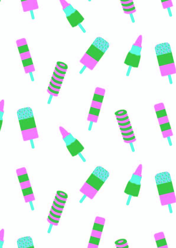 卡通图案雪糕印花矢量图服装纺织数码印花花型素材-POP花型网