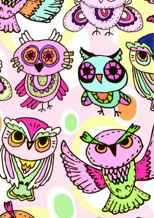 卡通动物猫头鹰印花矢量图服装纺织数码印花花型素材-POP花型网