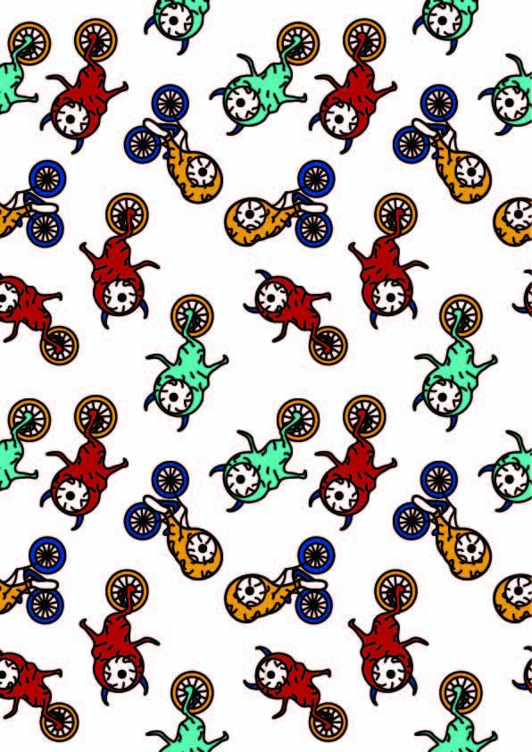 卡通图案独轮车眼睛印花矢量图服装纺织数码印花花型素材-POP花型网