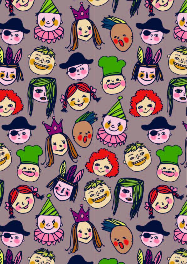 卡通人物头像图案印花矢量图服装纺织数码印花花型素材-POP花型网