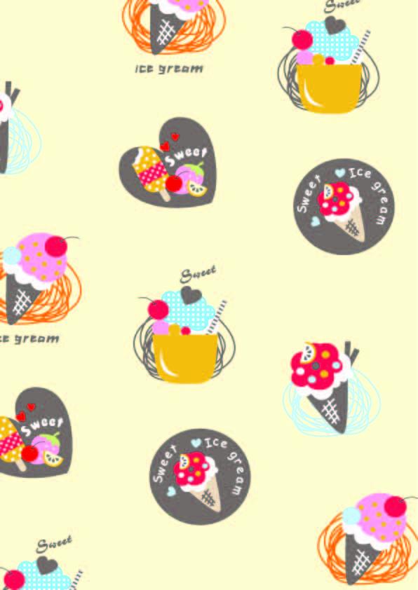 卡通图案雪糕爱心字母印花矢量图服装纺织数码印花花型素材-POP花型网