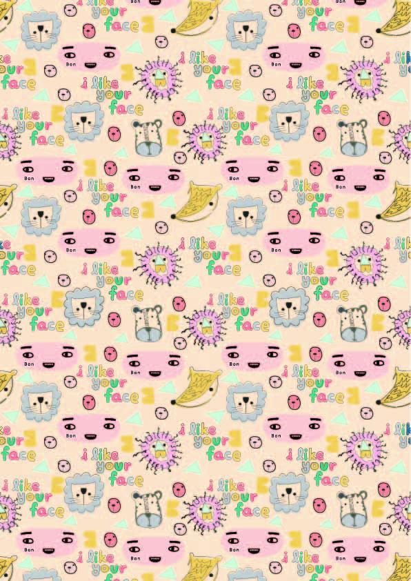 卡通动物狮子狐狸字母印花矢量图服装纺织数码印花花型素材-POP花型网