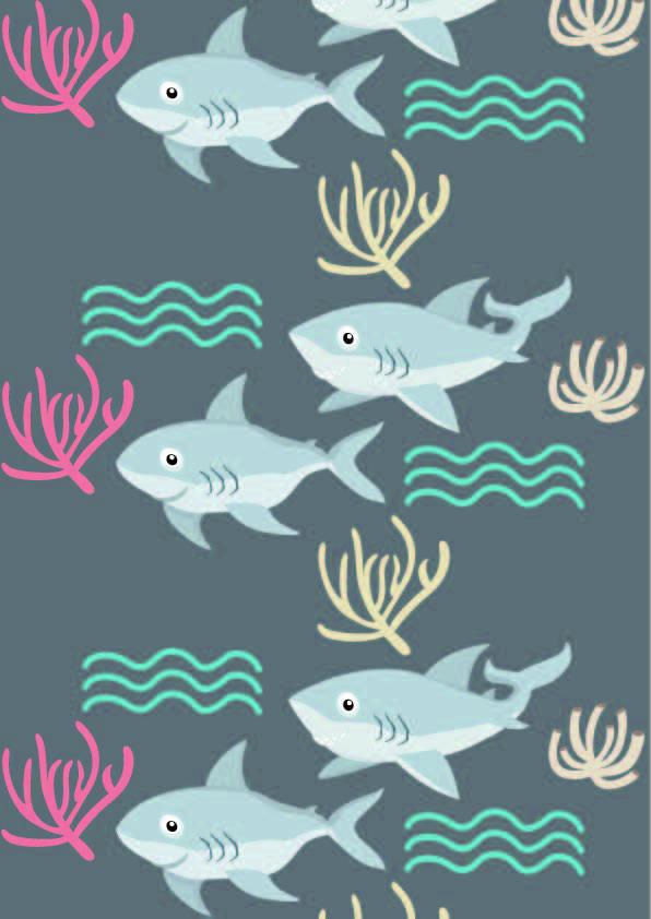 卡通动物鲨鱼几何线条印花矢量图服装纺织数码印花花型素材-POP花型网