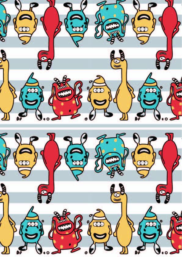 卡通小怪兽图案印花矢量图服装纺织数码印花花型素材-POP花型网