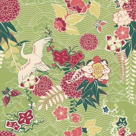 植物花纹仙鹤拼接印花矢量图服装纺织数码印花花型素材-POP花型网