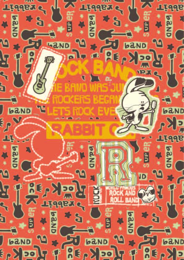 卡通图案音乐吉他兔子印花矢量图服装纺织数码印花花型素材-POP花型网