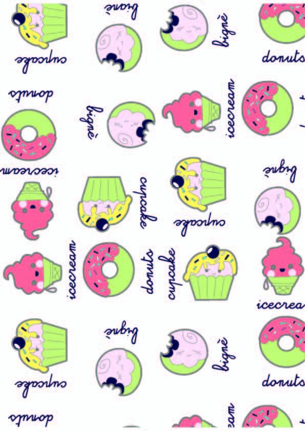 卡通图案雪糕甜甜圈字母印花矢量图服装纺织数码印花花型素材-POP花型网