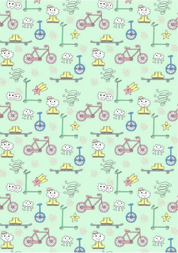 卡通星星滑板云朵印花矢量图服装纺织数码印花花型素材-POP花型网