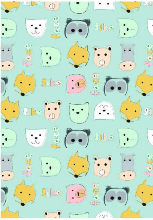 卡通字母狐狸印花矢量图服装纺织数码印花花型素材-POP花型网