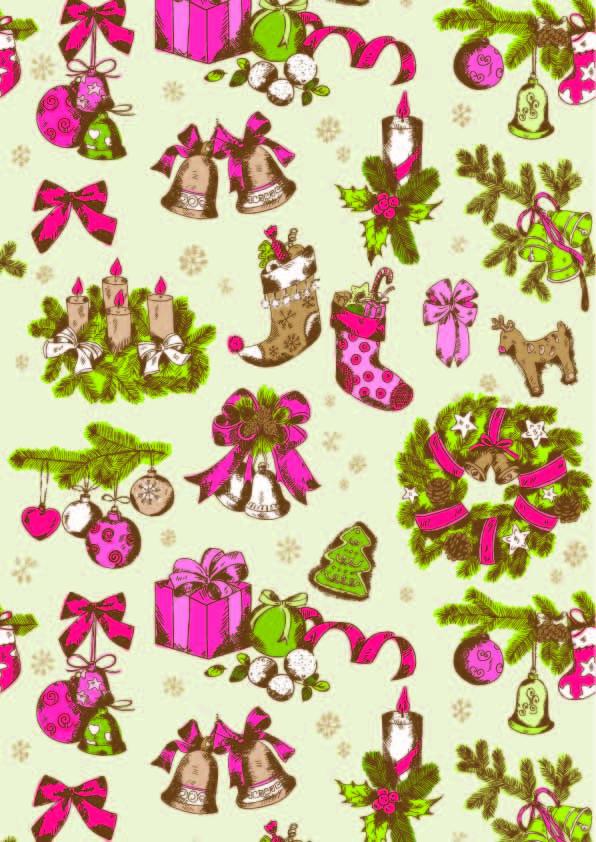 圣诞风图案印花矢量图服装纺织数码印花花型素材-POP花型网