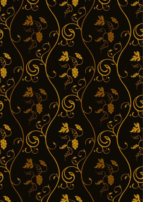 金色植物花纹拼接印花矢量图服装纺织数码印花花型素材-POP花型网