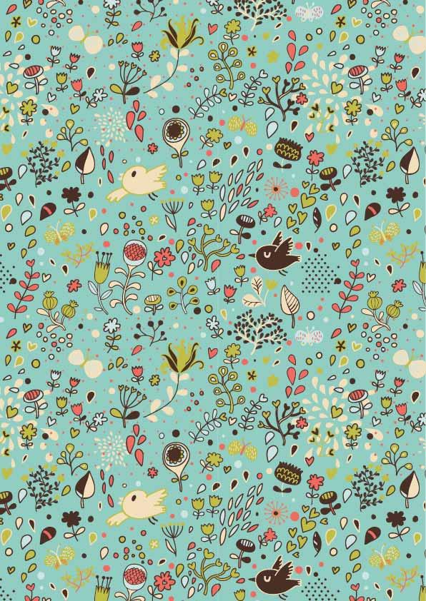 卡通植物花卉飞鸟印花矢量图服装纺织数码印花花型素材-POP花型网