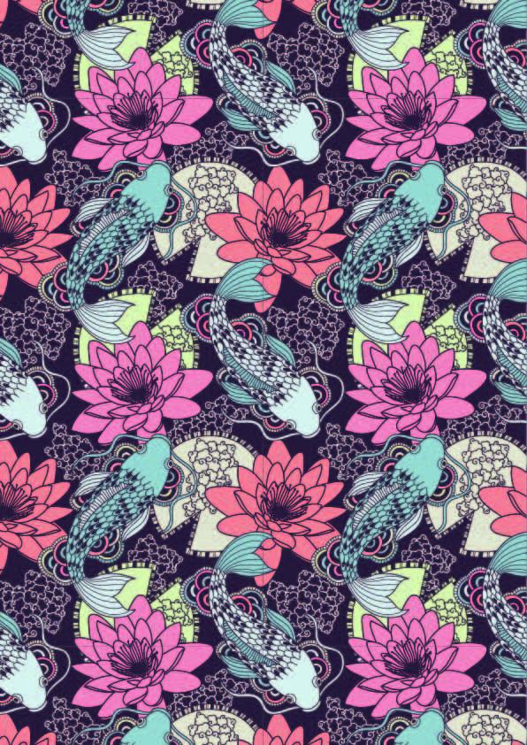 植物花朵锦鲤印花矢量图服装纺织数码印花花型素材-POP花型网