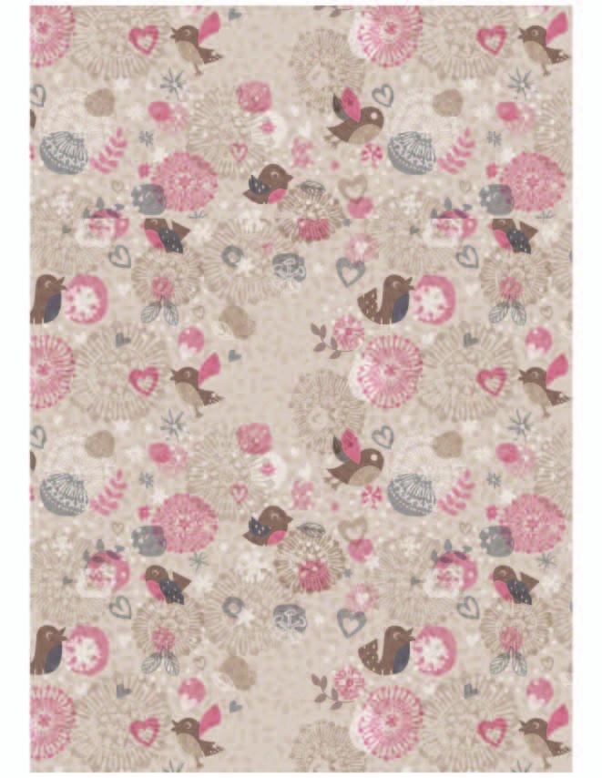 卡通花纹飞鸟印花矢量图服装纺织数码印花花型素材-POP花型网