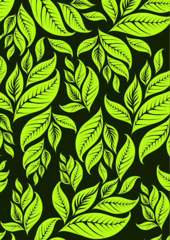 植物绿色叶子拼接印花矢量图服装纺织数码印花花型素材-POP花型网