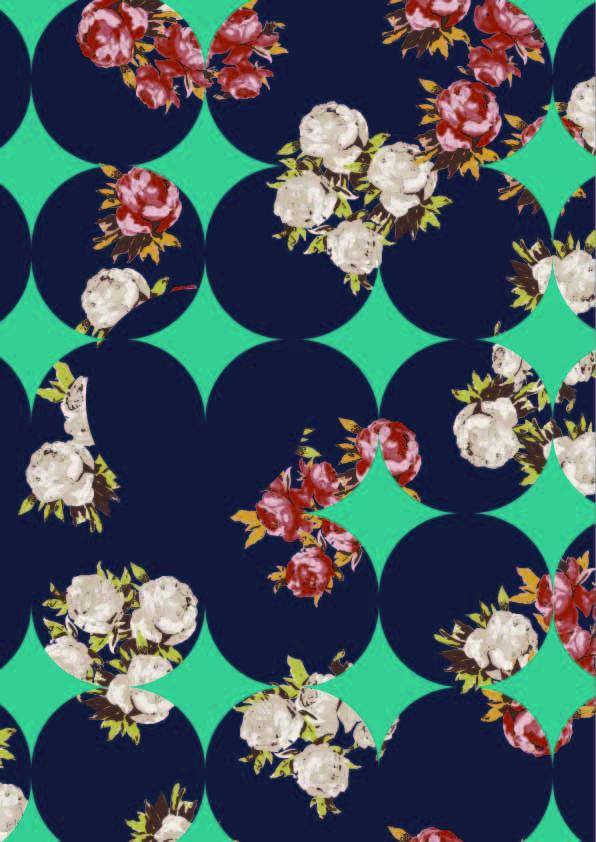 圆点植物玫瑰花印花矢量图服装纺织数码印花花型素材-POP花型网