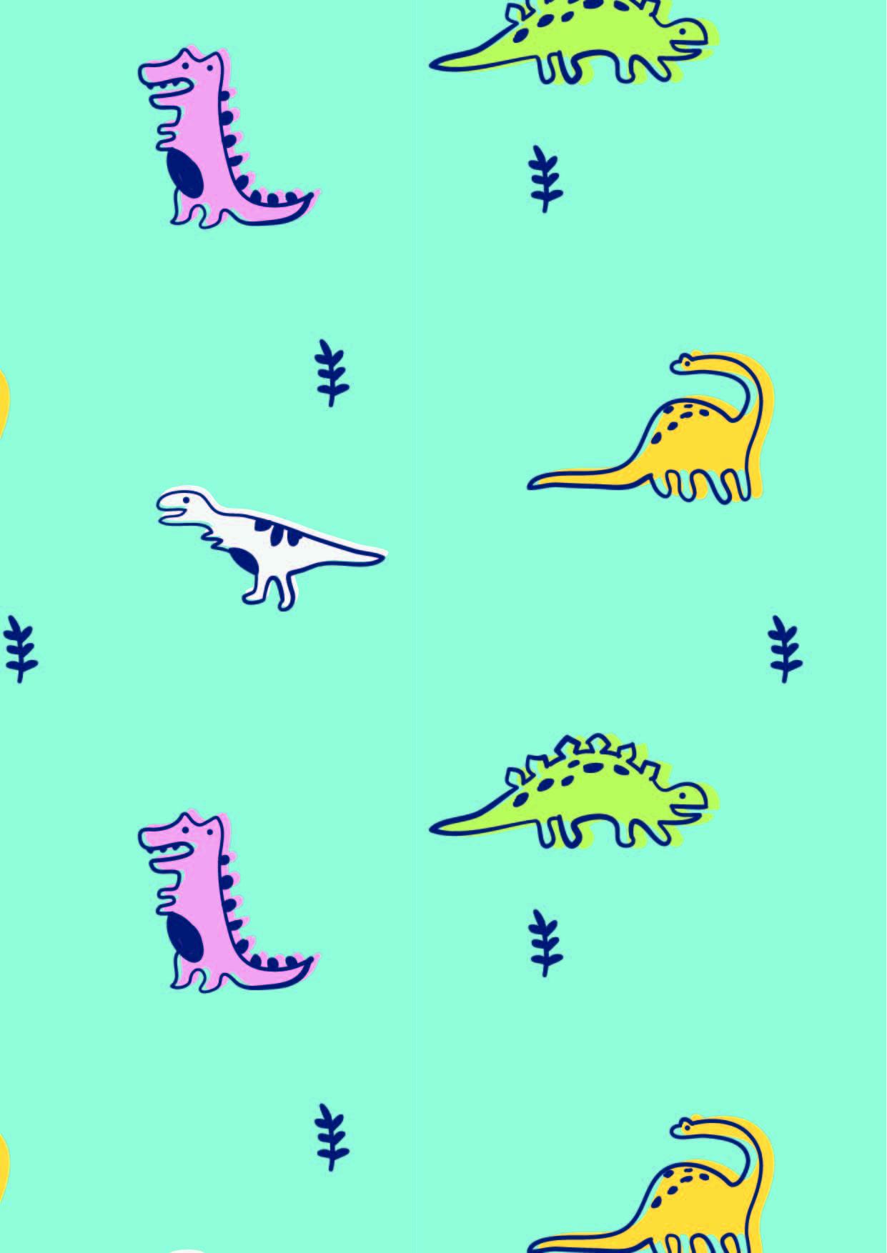 卡通动物恐龙印花矢量图服装纺织数码印花花型素材-POP花型网