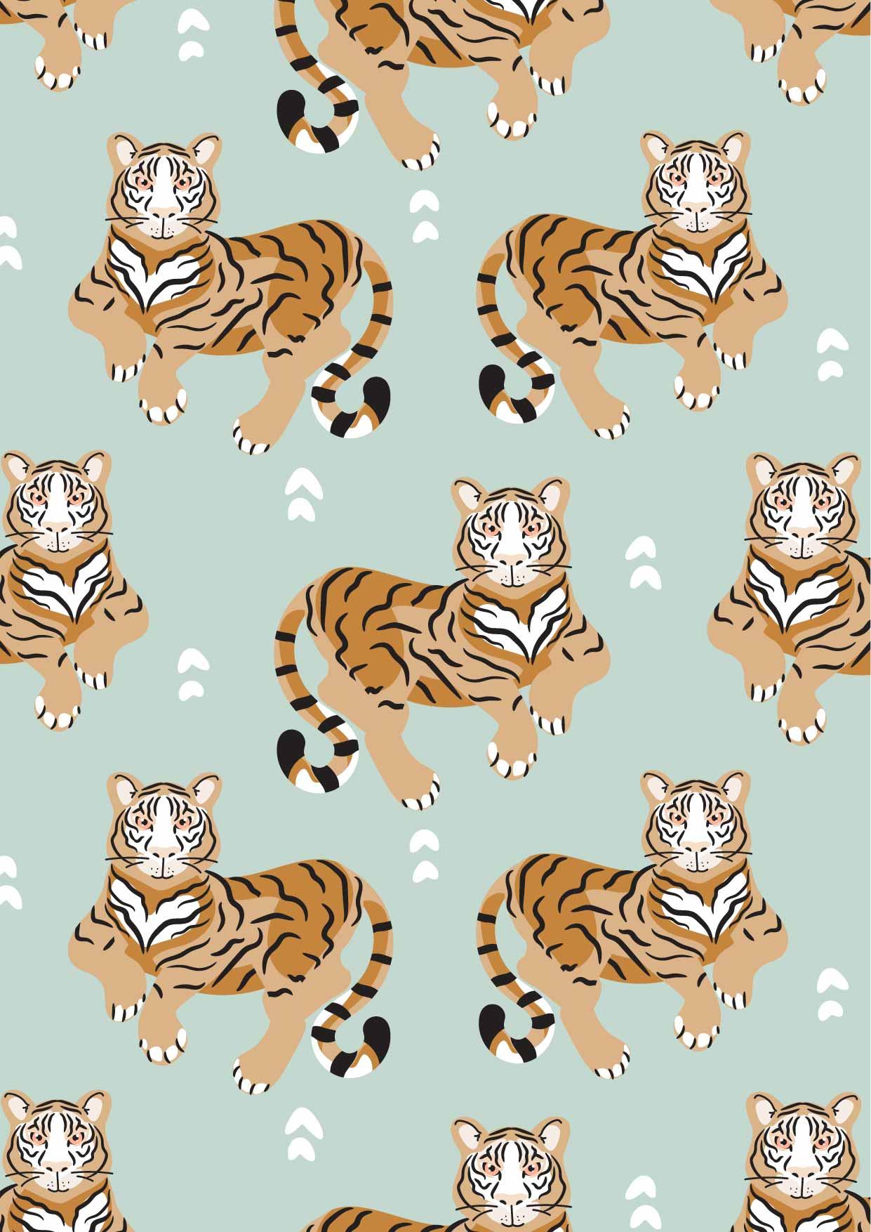 卡通动物老虎印花矢量图服装纺织数码印花花型素材-POP花型网