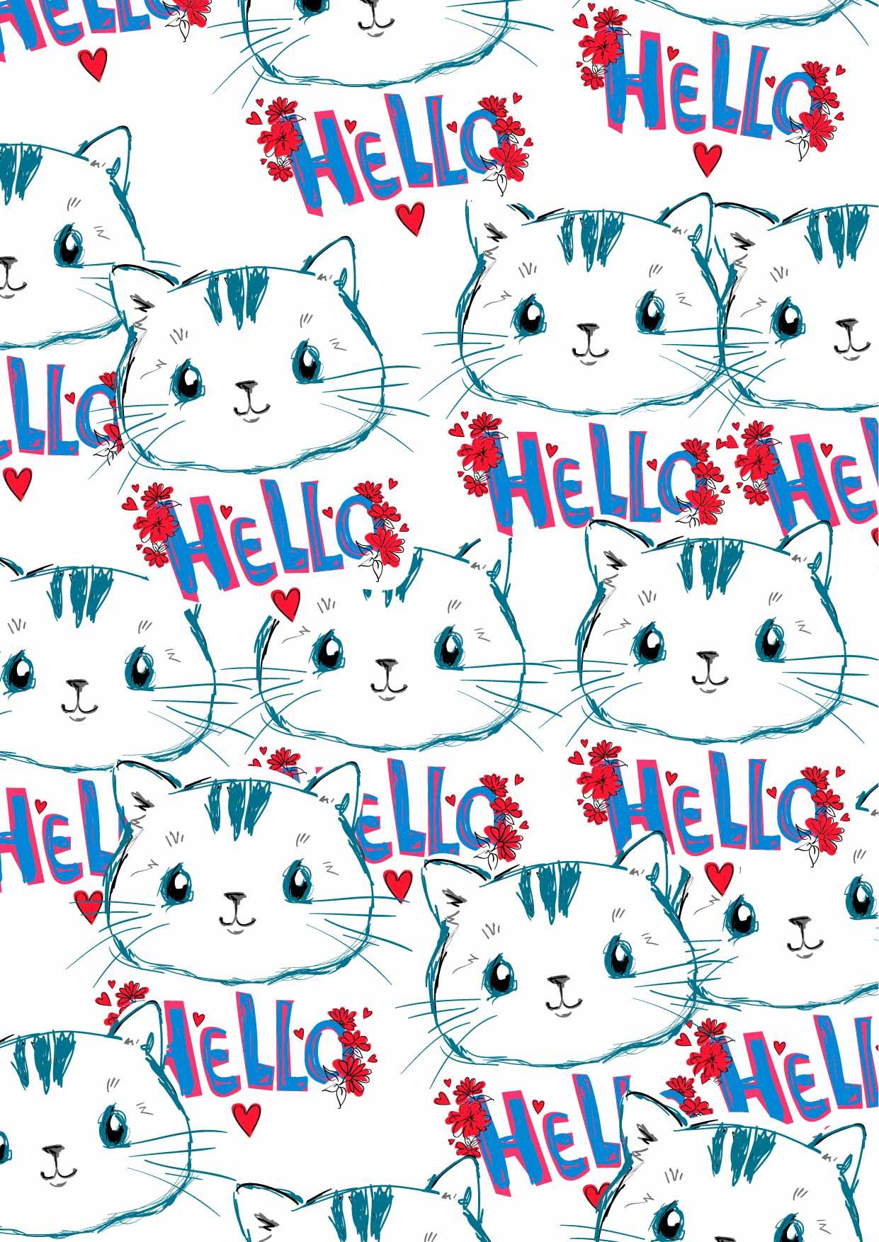 卡通动物猫咪字母印花矢量图服装纺织数码印花花型素材-POP花型网