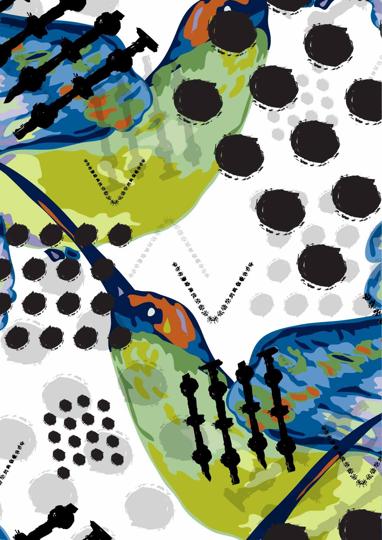 几何涂鸦动物蜂鸟印花矢量图服装纺织数码印花花型素材-POP花型网