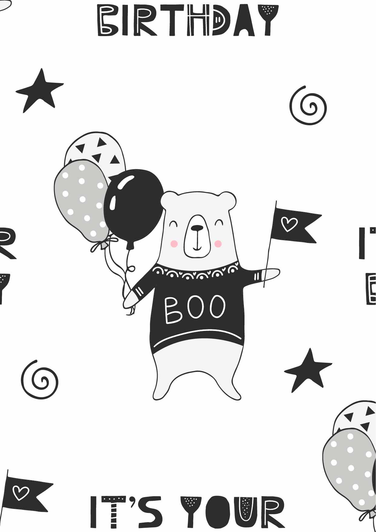 卡通动物小熊字母印花矢量图服装纺织数码印花花型素材-POP花型网