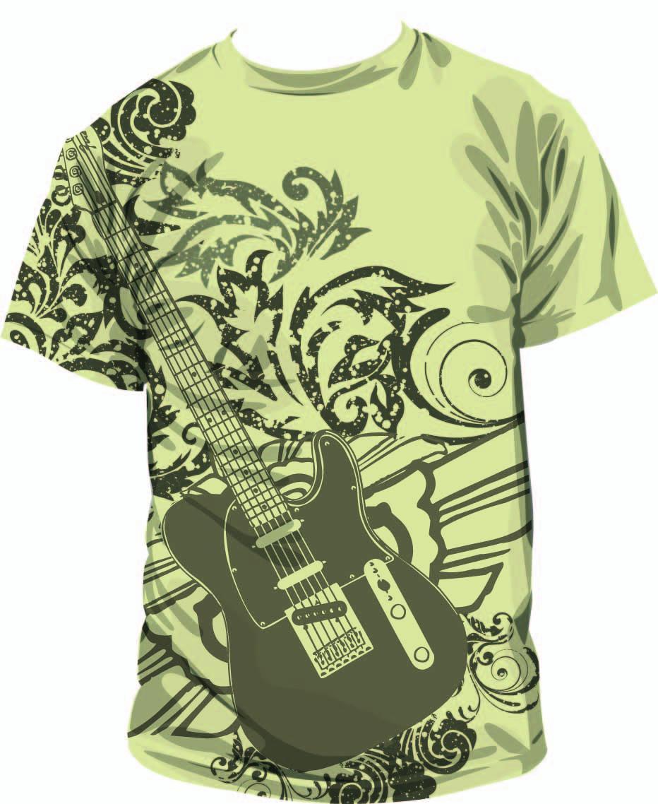 几何花纹吉他印花矢量图服装裁片T恤烫图印花花型素材-POP花型网