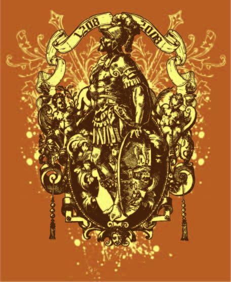 复古几何花纹骑士字母印花矢量图服装裁片T恤烫图印花花型素材-POP花型网