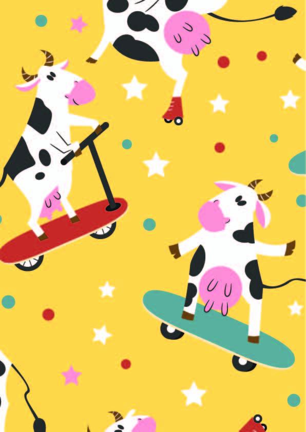 卡通动物奶牛滑板印花矢量图服装纺织数码印花花型素材-POP花型网