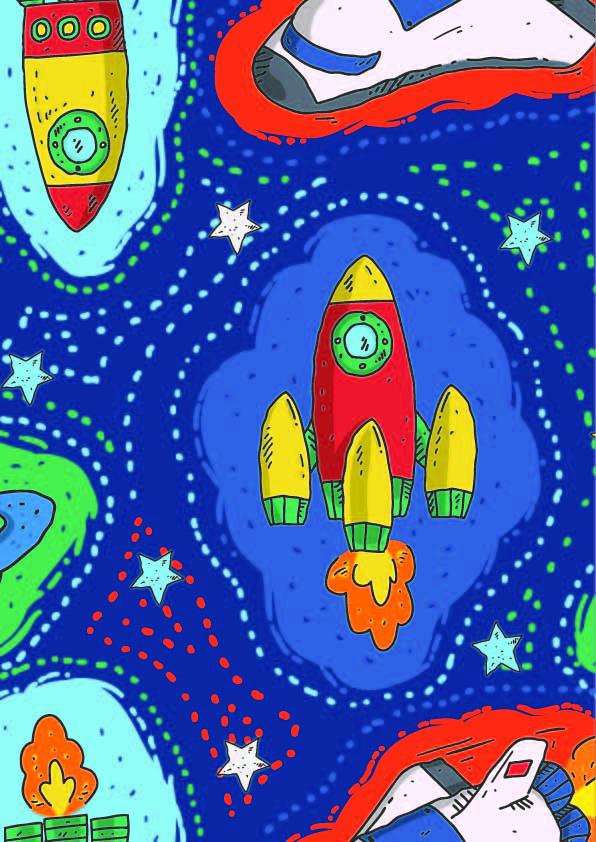 卡通图案火箭星星印花矢量图服装纺织数码印花花型素材-POP花型网