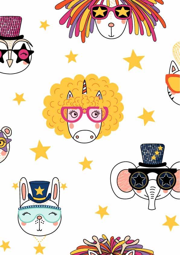 卡通动物图案独角兽大象兔子印花矢量图服装纺织数码印花花型素材-POP花型网