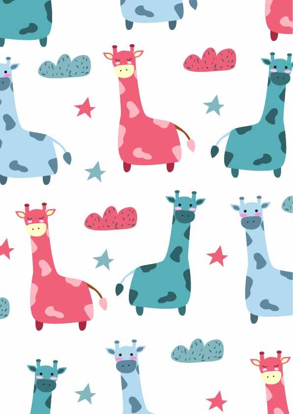 卡通动物长颈鹿印花矢量图服装纺织数码印花花型素材-POP花型网