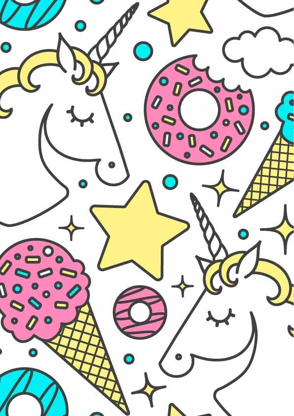 卡通动物独角兽甜甜圈雪糕印花矢量图服装纺织数码印花花型素材-POP花型网