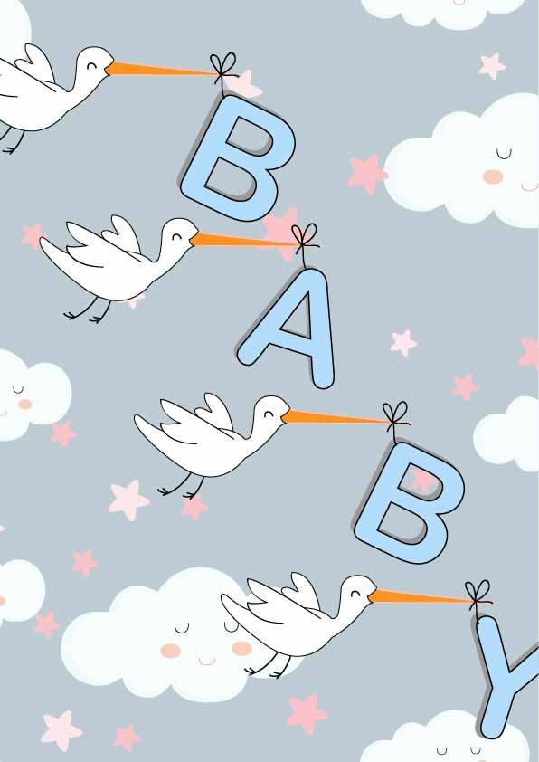 卡通图案飞鸟字母云朵印花矢量图服装纺织数码印花花型素材-POP花型网