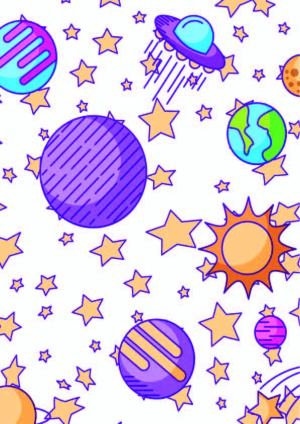 几何天体星星飞碟印花矢量图服装纺织数码印花花型素材-POP花型网