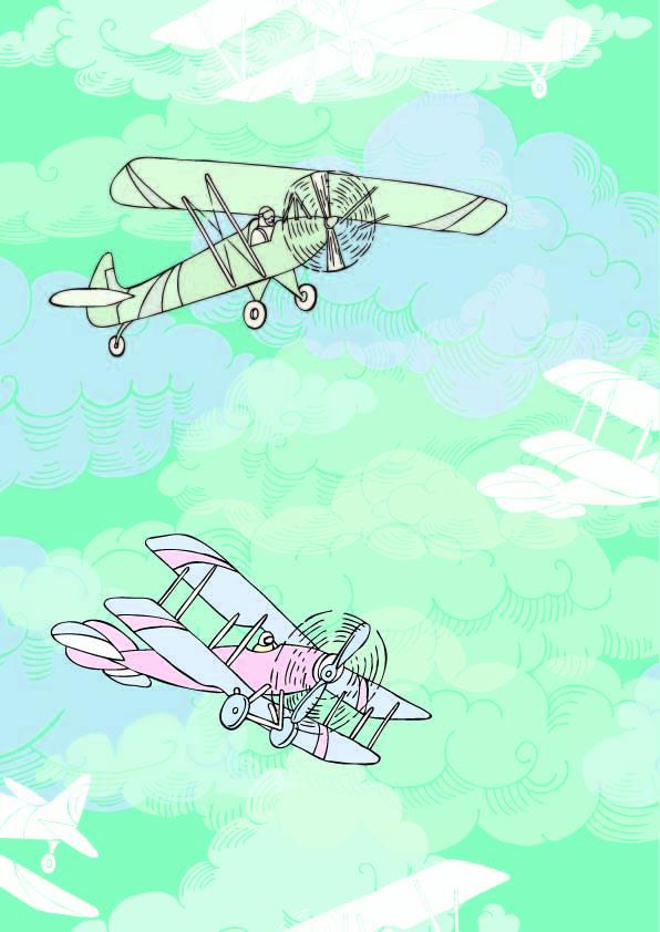 卡通飞机云朵印花矢量图服装纺织数码印花花型素材-POP花型网