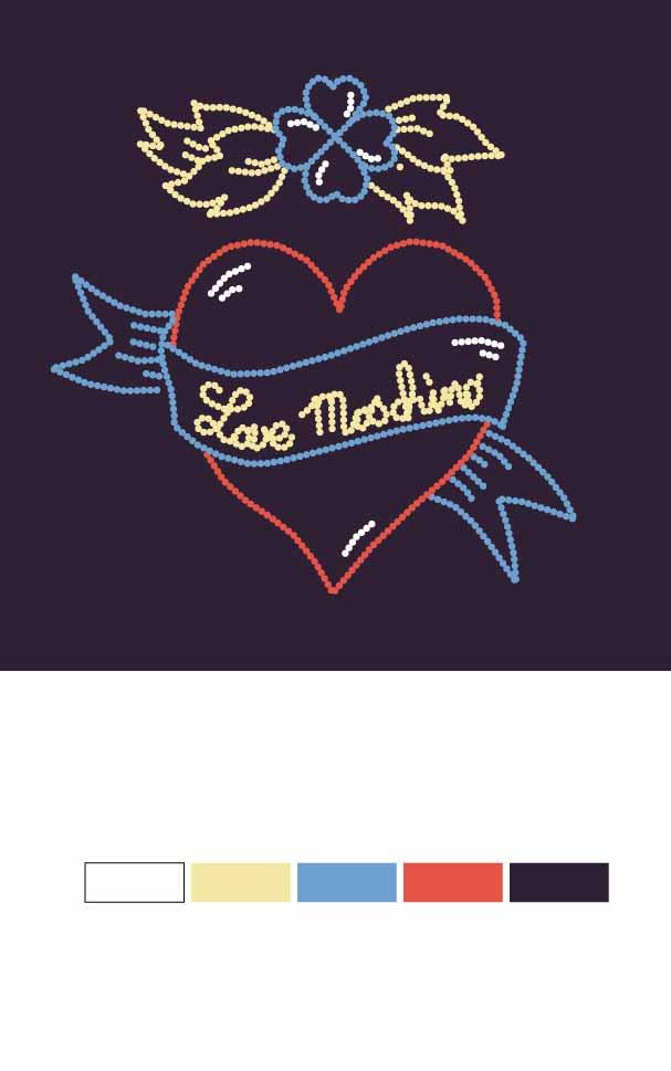 几何爱心蝴蝶结字母印花矢量图服装裁片T恤烫图印花花型素材-POP花型网