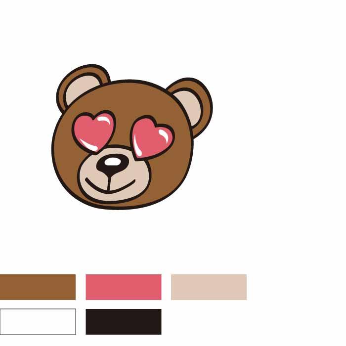 卡通熊爱心图案印花矢量图服装裁片T恤烫图印花花型素材-POP花型网