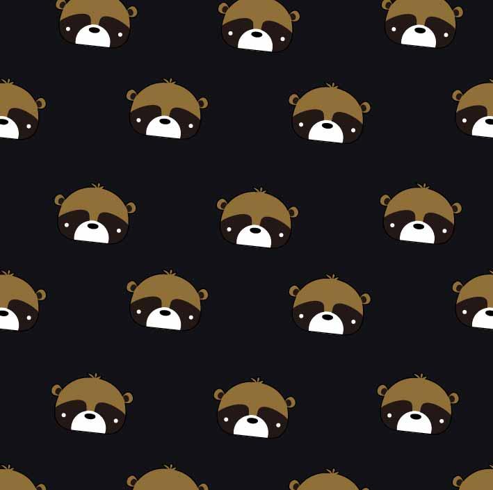 卡通动物小熊印花矢量图服装纺织数码印花花型素材-POP花型网