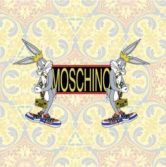 卡通动物潮牌字母MOSCHINO印花矢量图服装裁片T恤烫图印花花型素材-POP花型网